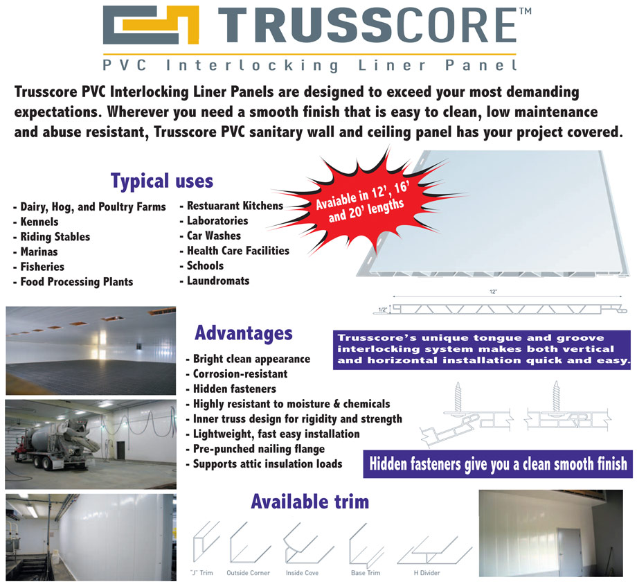 Terra Star Building Products now offers Trusscore PVC Interlocking Liner Panel.